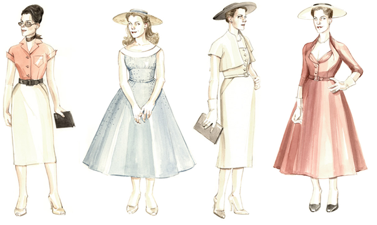 The Light in the Piazza costume sketches.